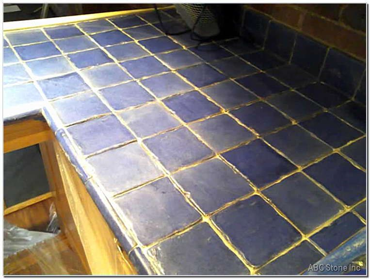 Attirant Blue Tile Countertops | Tiled Countertop With Blue Porcelain Tile.  Regrouting