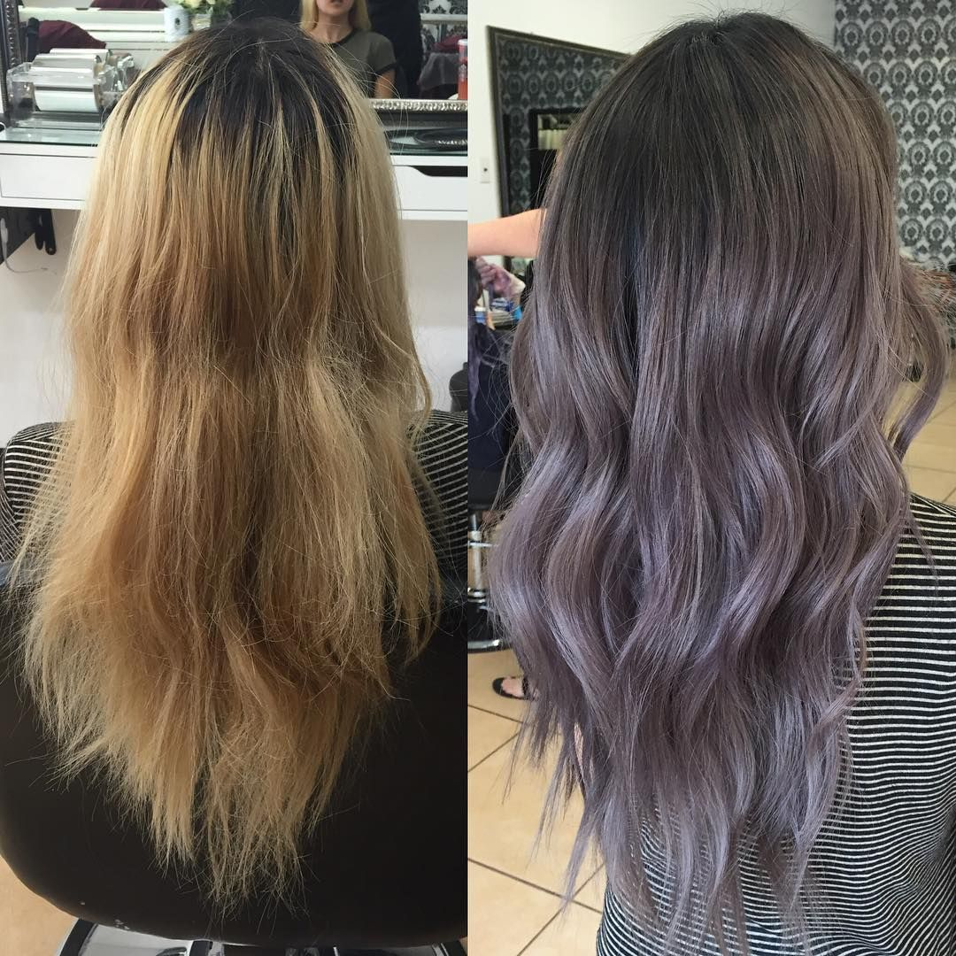 1 217 Likes 21 Comments Ky Color Ista Kycolor On Instagram Evened Out Her Blonde And Toned Her With Fanola U Baylage Hair Balayage Hair Lilac Hair
