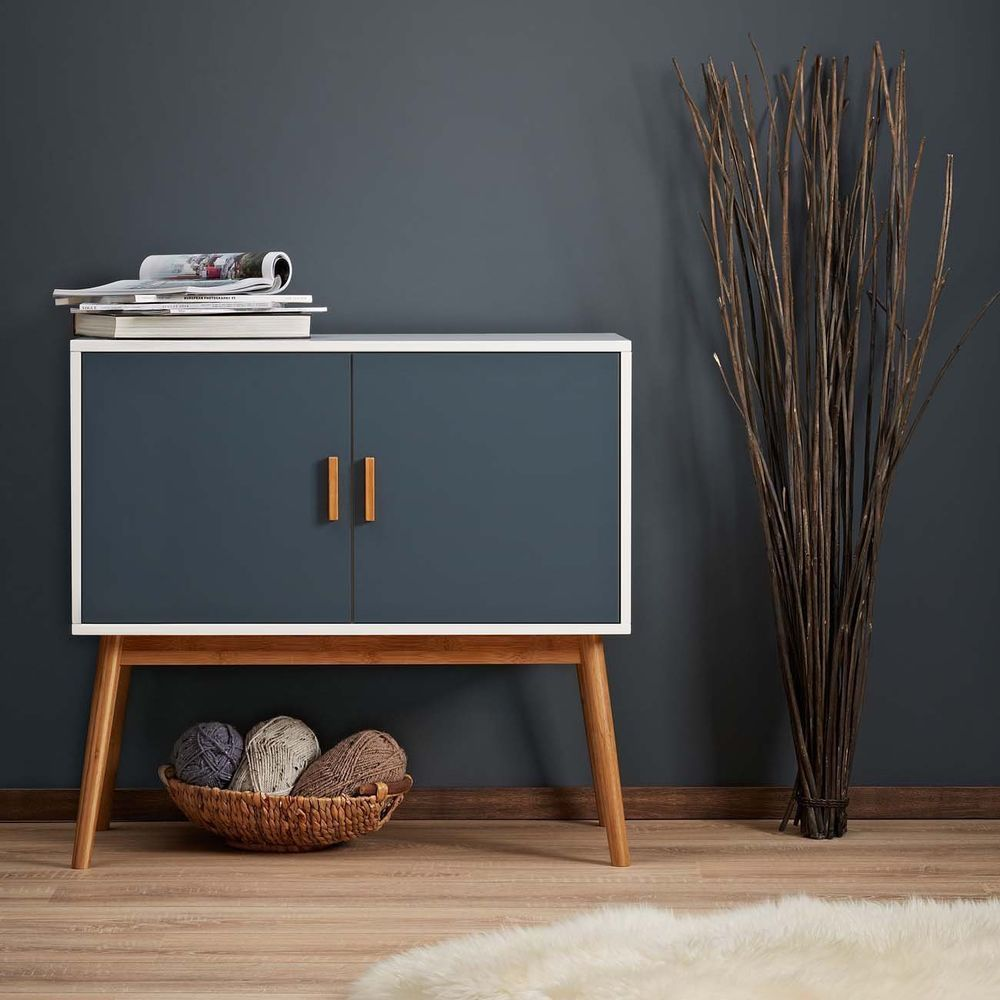 no 3 retro design kommode sideboard schrank anrichte holz mit zwei fl gelt ren in m bel wohnen. Black Bedroom Furniture Sets. Home Design Ideas