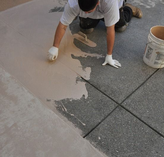 Courtyard Resurfaced Home Improvement Cement Patio