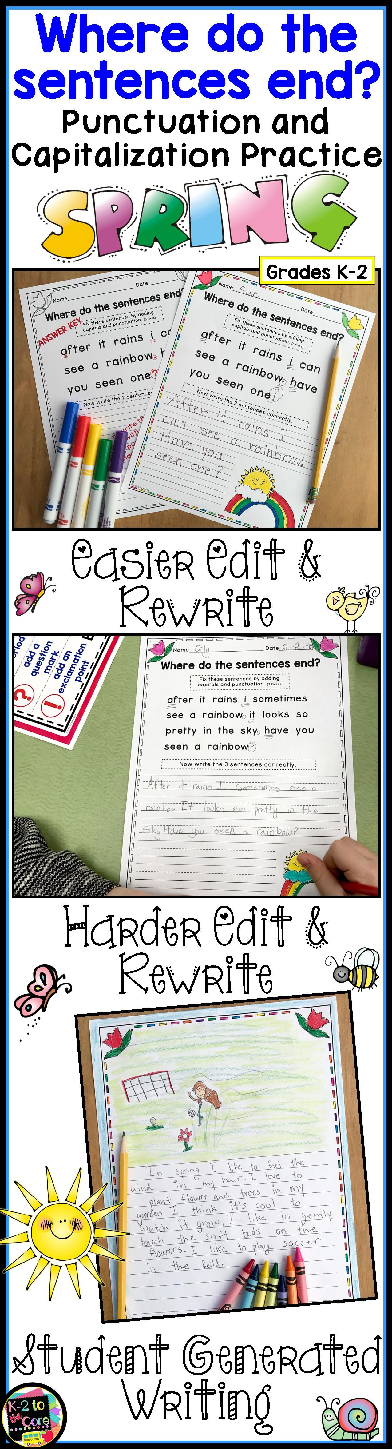 Spring Writing Capitalization And Punctuation Practice