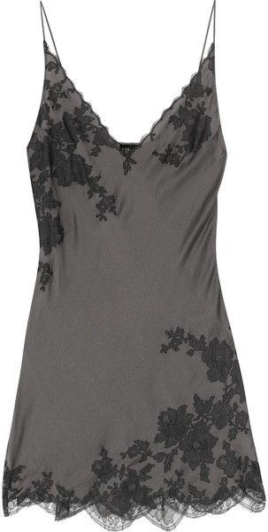 803838ba725f Women's Gray Lace-appliquéd Silk-satin Chemise | Lingerie | Lingerie ...