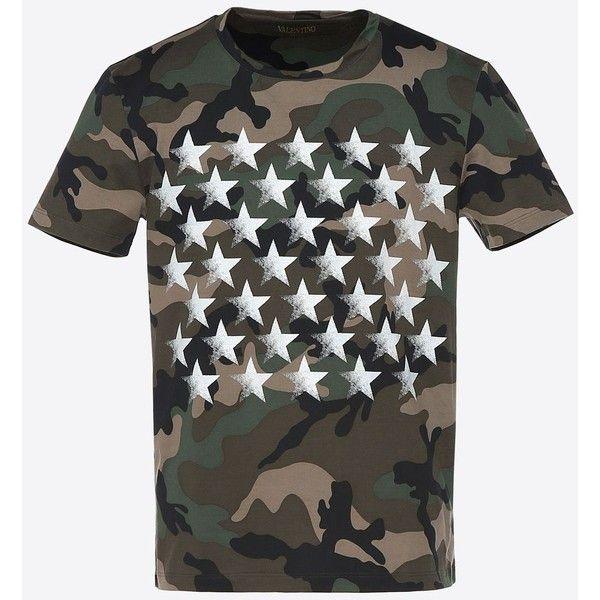 cfffd91395 Valentino Uomo Camustars Mariposa Print T-shirt ($485) ❤ liked on Polyvore  featuring