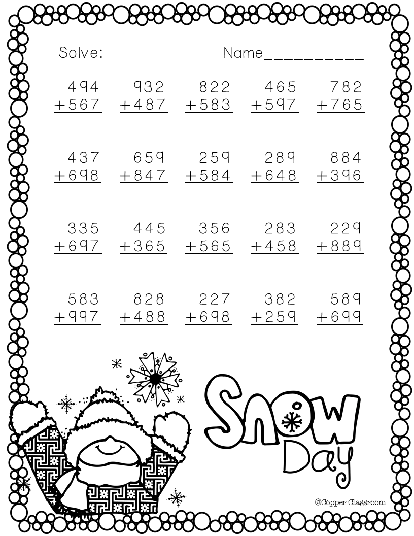 3.NBT.2 Winter Themed 3Digit Addition with Regrouping