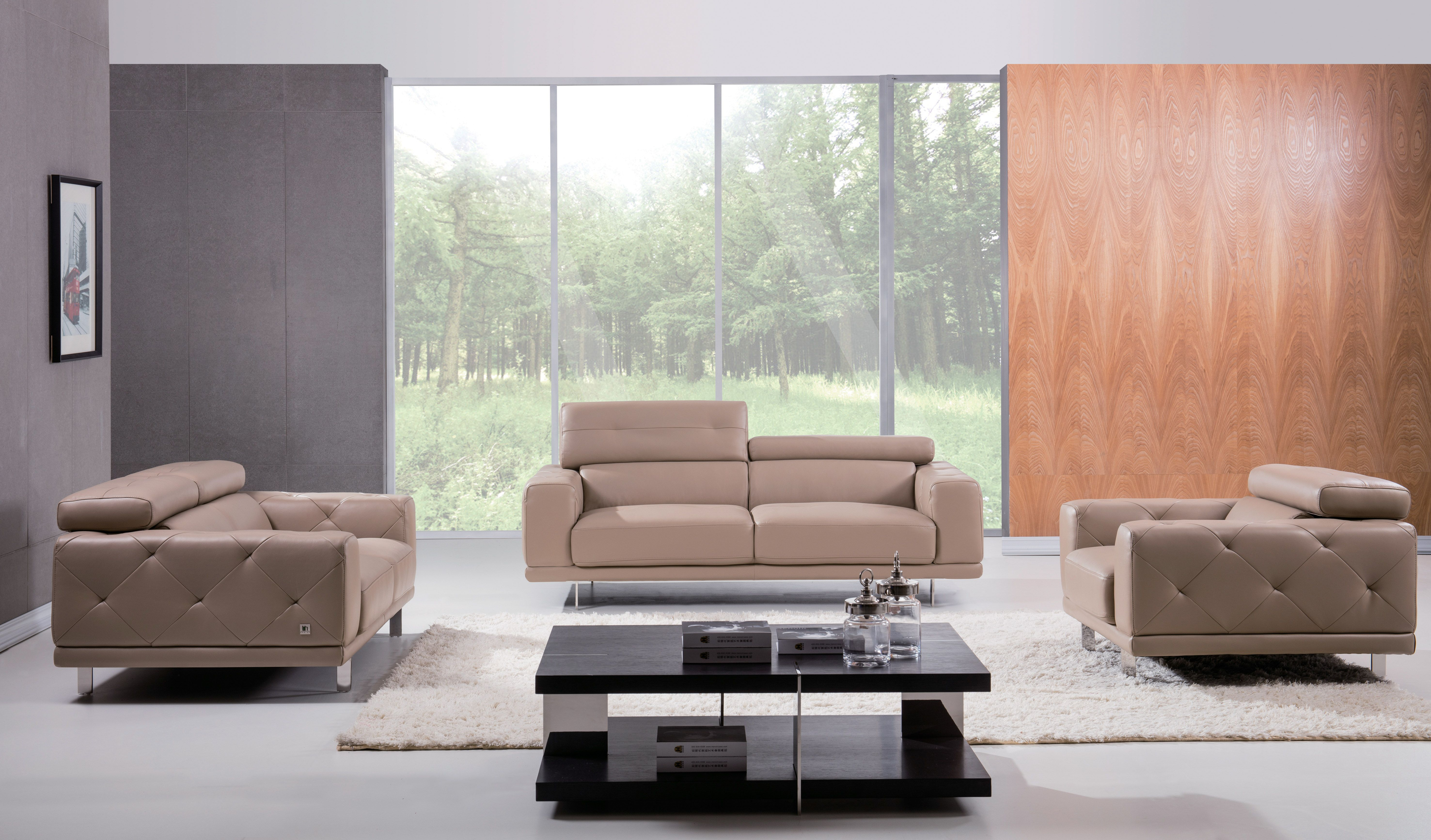Living Room Settings stylish three-piece taupe leather set. the living room set will