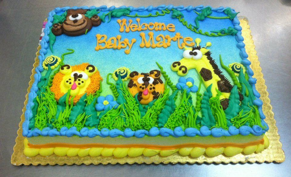 Jungle Baby Cake Sheet Cake by Stephanie Dillon LS1 HyVee Bakery