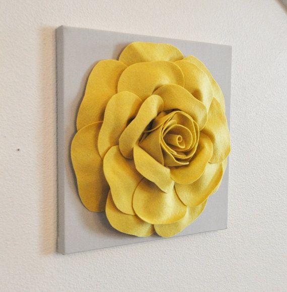 Home Decor Flower Wall Hanging -Mellow Yellow Rose on Gray 12 x12 ...