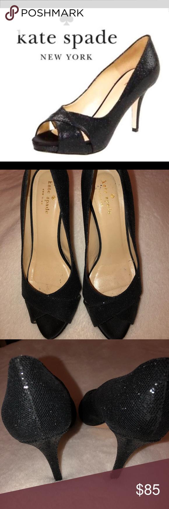 c365c198d17c Kate Spade Billie Glitter Lame Peep Toe Pumps Kate Spade Black Billie  Glitter Lame pumps size