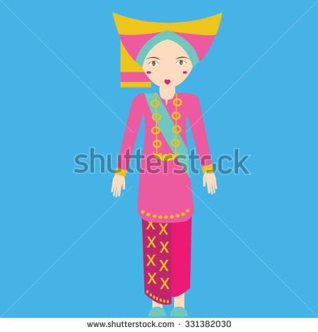 Indonesia minang padang sumatra Traditional Costume girls in clothes south east asia tradition vector - stock vector