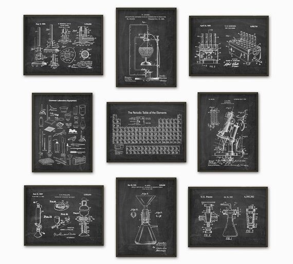 Science Patent Prints Set Of 9 Chemistry Wall Art Periodic Table Microscope Laboratory Equipment Poster Set Of Science Decor Patent Prints Science Bedroom