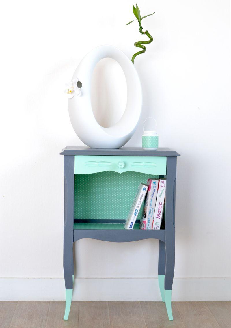 table de nuit table d 39 appoint vintage menthe et grise meubles crealina mobilier de salon. Black Bedroom Furniture Sets. Home Design Ideas
