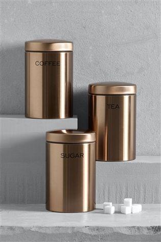 Buy Set Of 3 Copper Effect Storage Jars From The Next Uk Online Shop Kitchen Jars Jar Storage Kitchen Jars Storage