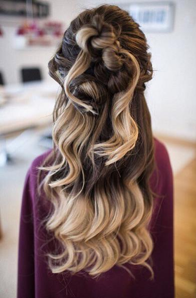 half updo hairstyle #ombre #estellessecret