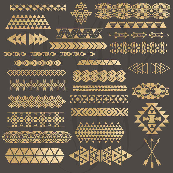 Tribal Borders Digital Clip Art - gold foil tribal aztec borders & elements png files for scrapbooking invitations template overlays planner #aztec