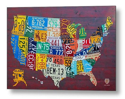 License Plate Map Art Of The United States X By Designturnpike - Us map license plates