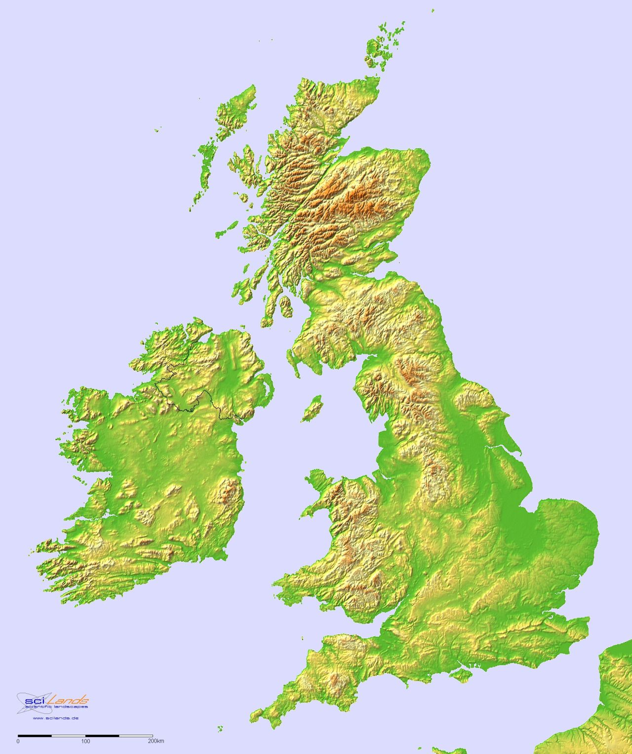 Topographic Hillshade Map Of Great Britain And Ireland More Relief