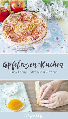 FOOD | Ein Kuchen mit Schnitzen, die zu kleinen Rosen geformt sind ist immer ein Hingucker! Wir zeigen euch Schritt für Schritt wie es geht und ihr braucht nur 3 Zutaten. #blätterteigrosenmitapfel
