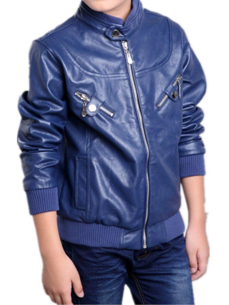 2a2fd0d00dde Boy s Trendy Stand Collar PU Leather Moto Jacket Leather Coat. There ...