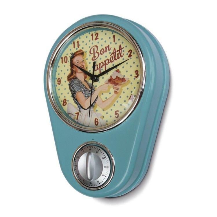 Retro Kitchen Clock And Timer   Bon Appetit
