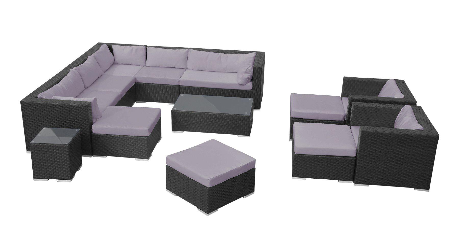 Grand salon jardin modulable en résine (Noir/gris)