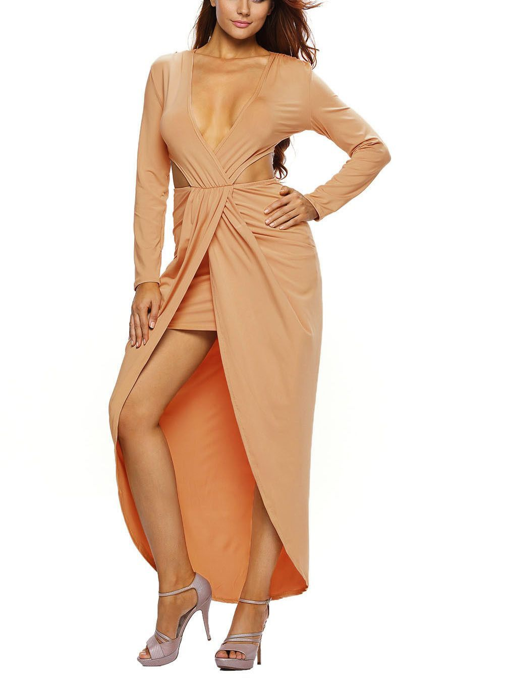 Taupe deep neck front slit maxi dress products pinterest products