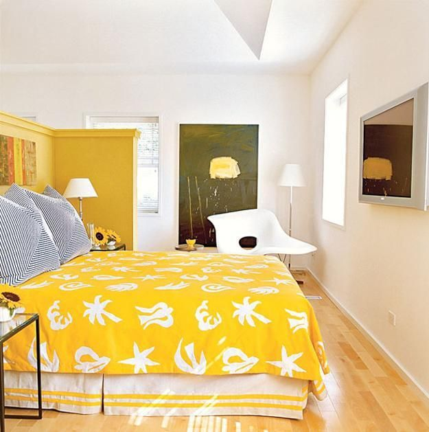 Bedroom Decor Color Matching Idea, Yellow, Green And White Colors