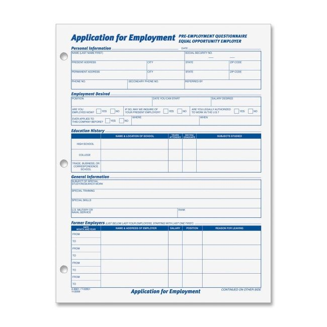 Free Standard Employment Application Form | Employment Application ...