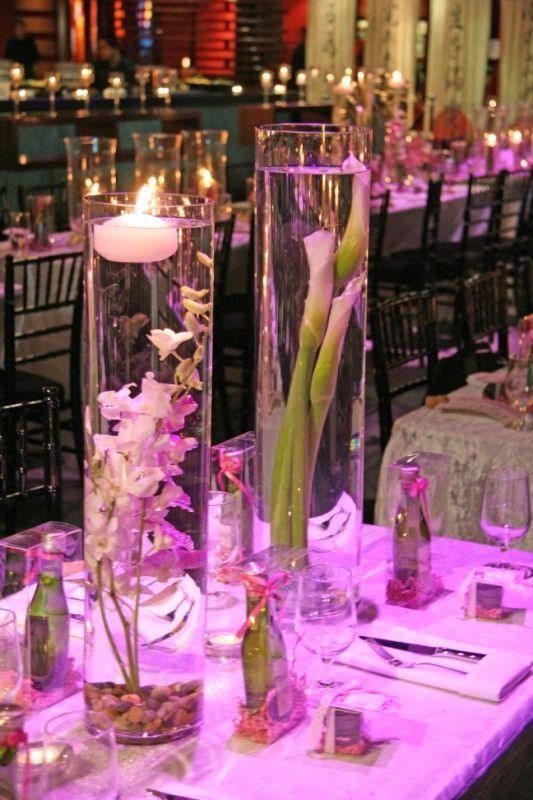 Submerged Centerpieces Using Gladiolus wedding centerpiece
