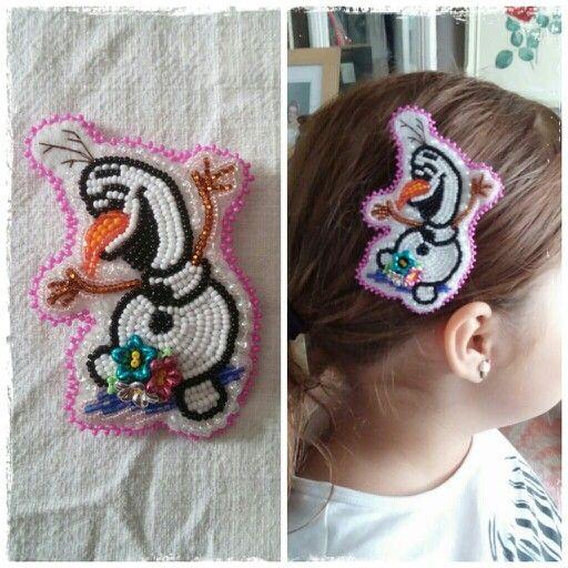 Olaf hair clip by create beautiful beads on facebook