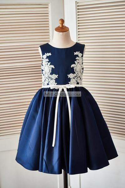 b49955c170f Navy Blue Lace Ivory Satin Tulle Flower Girl Dress with navy blue ...