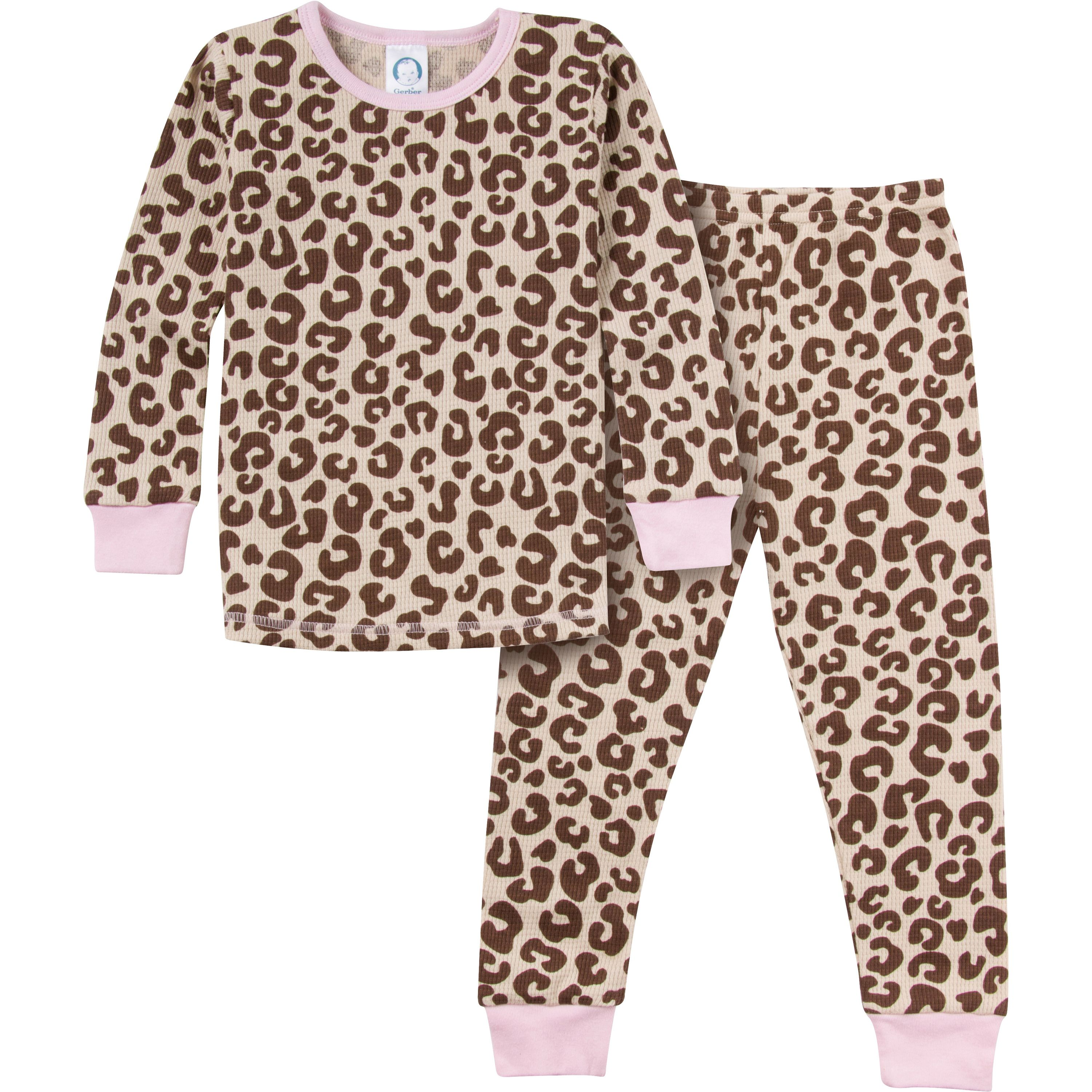 Gerber Girls Animal Print 2 Piece Thermal Pajamas Looks