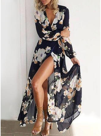 VERYVOGA Print/Floral Long Sleeves A-line Maxi Casual/Vacation Dresses
