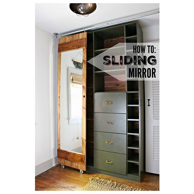 No Back Of The Door Option? Hereu0027s My Solution: A Sliding Mirror. All The  Details On How To Build And Install Using Pipe Fittings @prettyhandygirl ...