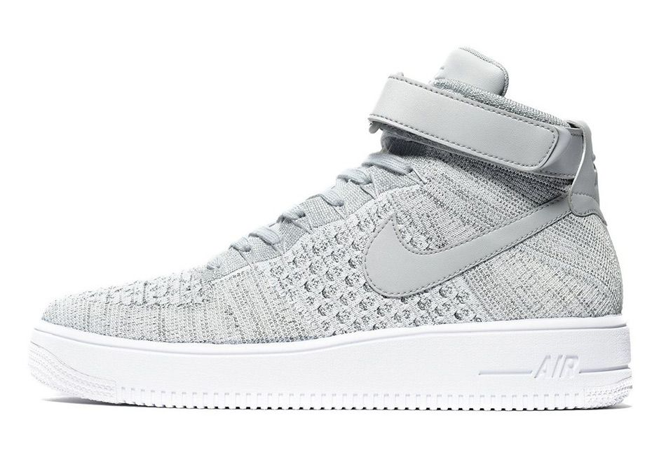 Nike Air Force 1 Mid Flyknit Heather Grey Sneakernews Com Black Shoes Women Sneakers Fashion Men Shoes Size
