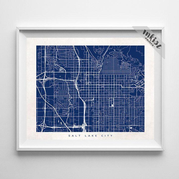 Salt Lake City Utah Homes: Salt Lake City, Utah Street Map Horizontal Print