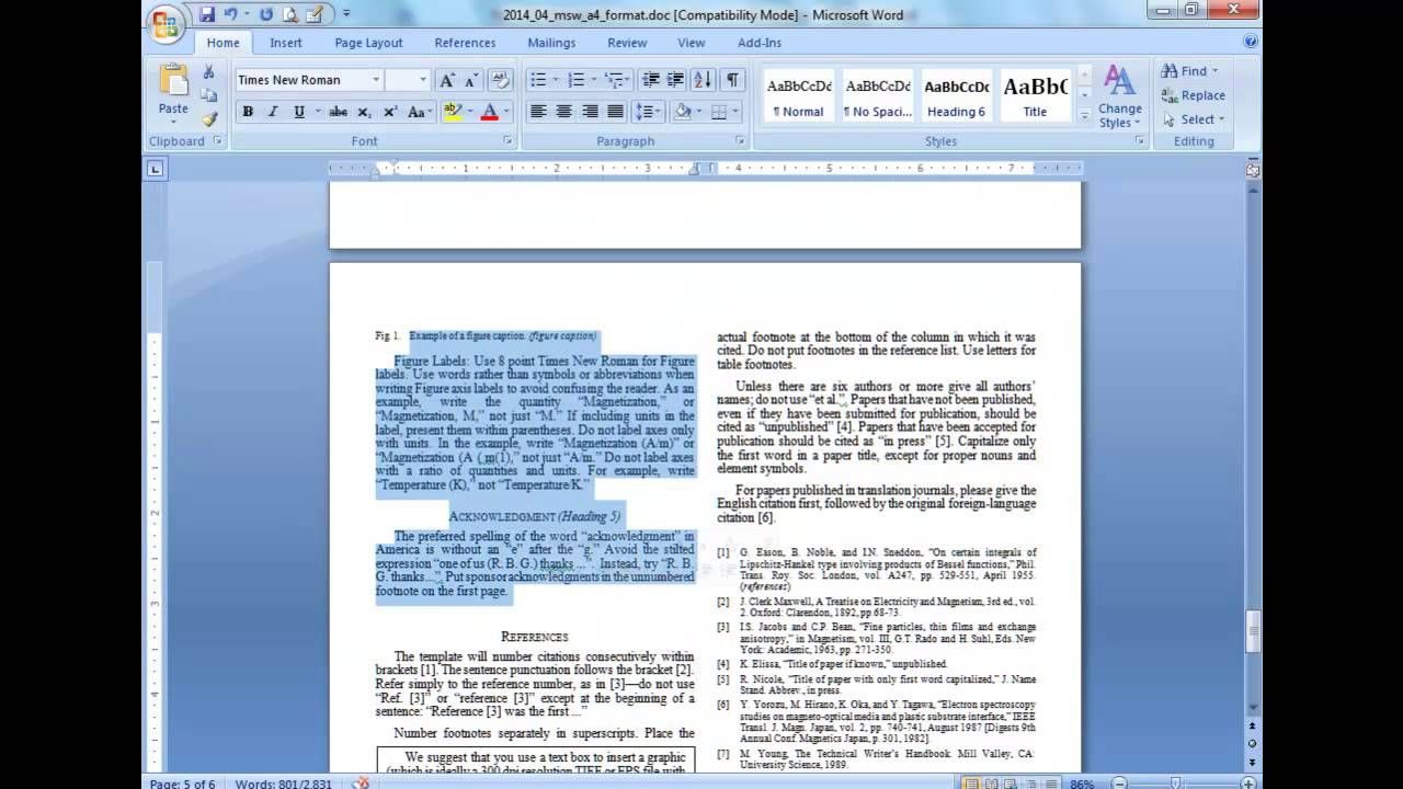 Convert A Paper Into Ieee Quick Conversion Guide Pertaining To Ieee Template Word 2007 Creative Sample Templates Word 2007 Words Word Template