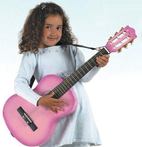 "Kids Beginners 18.5/"" Guitar 4 String Pink Girls Toys Children Music Rock Star"