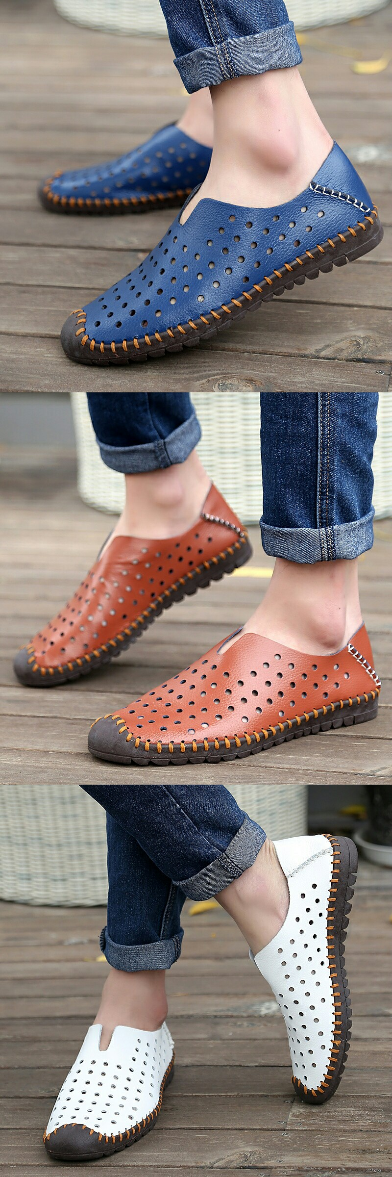 Amazon Men S Leather Summer Breathable Shoes Slip On Loafers Casual Shoes Hollow Out Dress Shoes Men Mens Boots Fashion Breathable Shoes [ 2400 x 800 Pixel ]