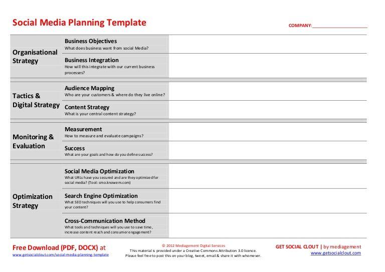Social Media Plan Te Plate Social Media Planning Template Social Media Strategy Template Social Media Planning