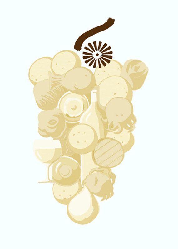 Ilustración inspirada por el vino albariño, las tierras gallegas y la comida que allí se hace. Un brindis por el arte!