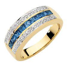 CREATED SAPPHIRE & DIAMOND RING