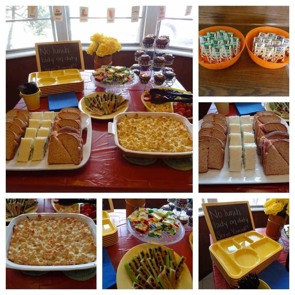 Nerd Themed Party Food Cafeteria Trays Sandwiches Mac Cheese Ants On