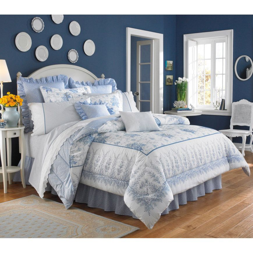 Laura Ashley Sophia Cotton 4 Piece King Size Comforter Set