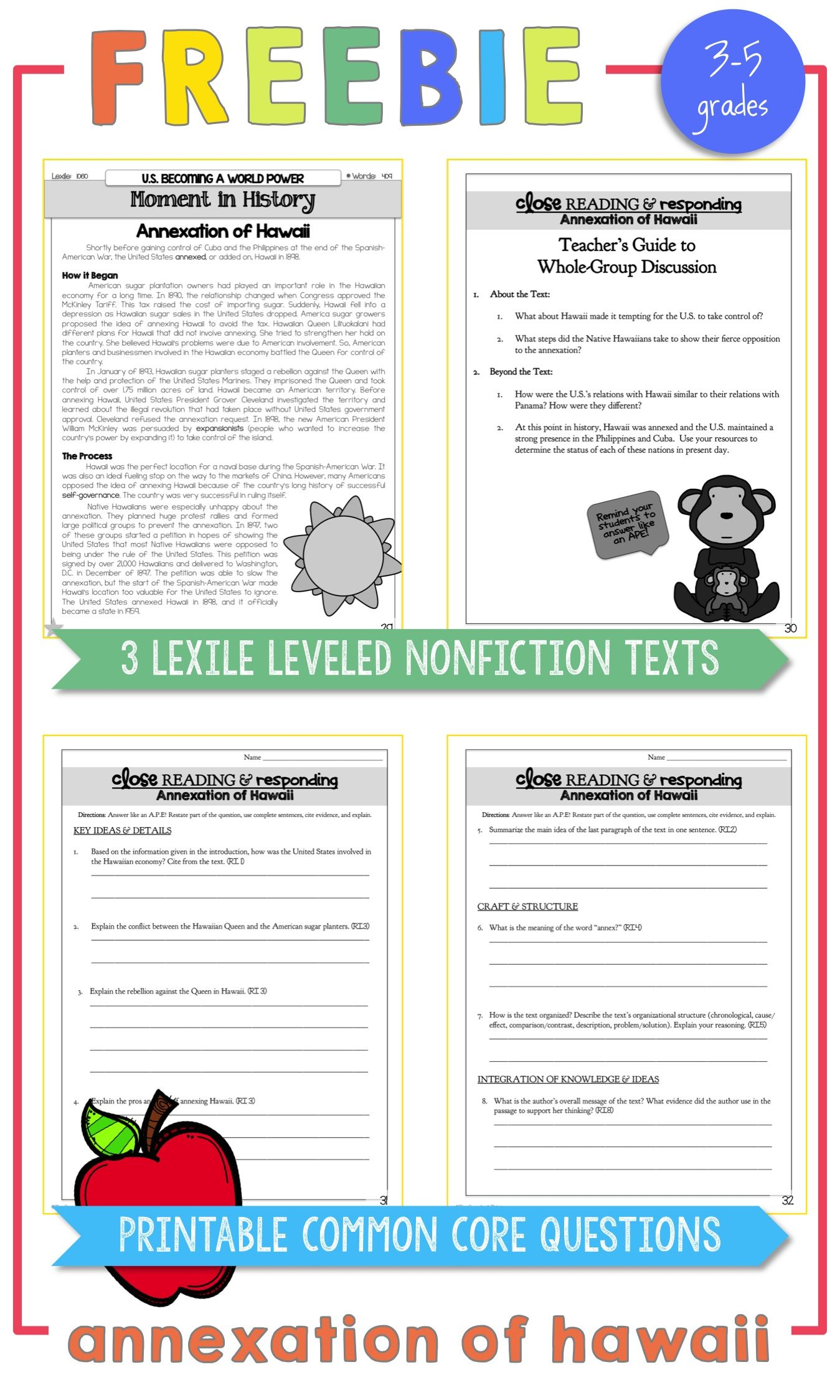Free Annexation Of Hawaii Lexile Leveled Nonfiction Texts