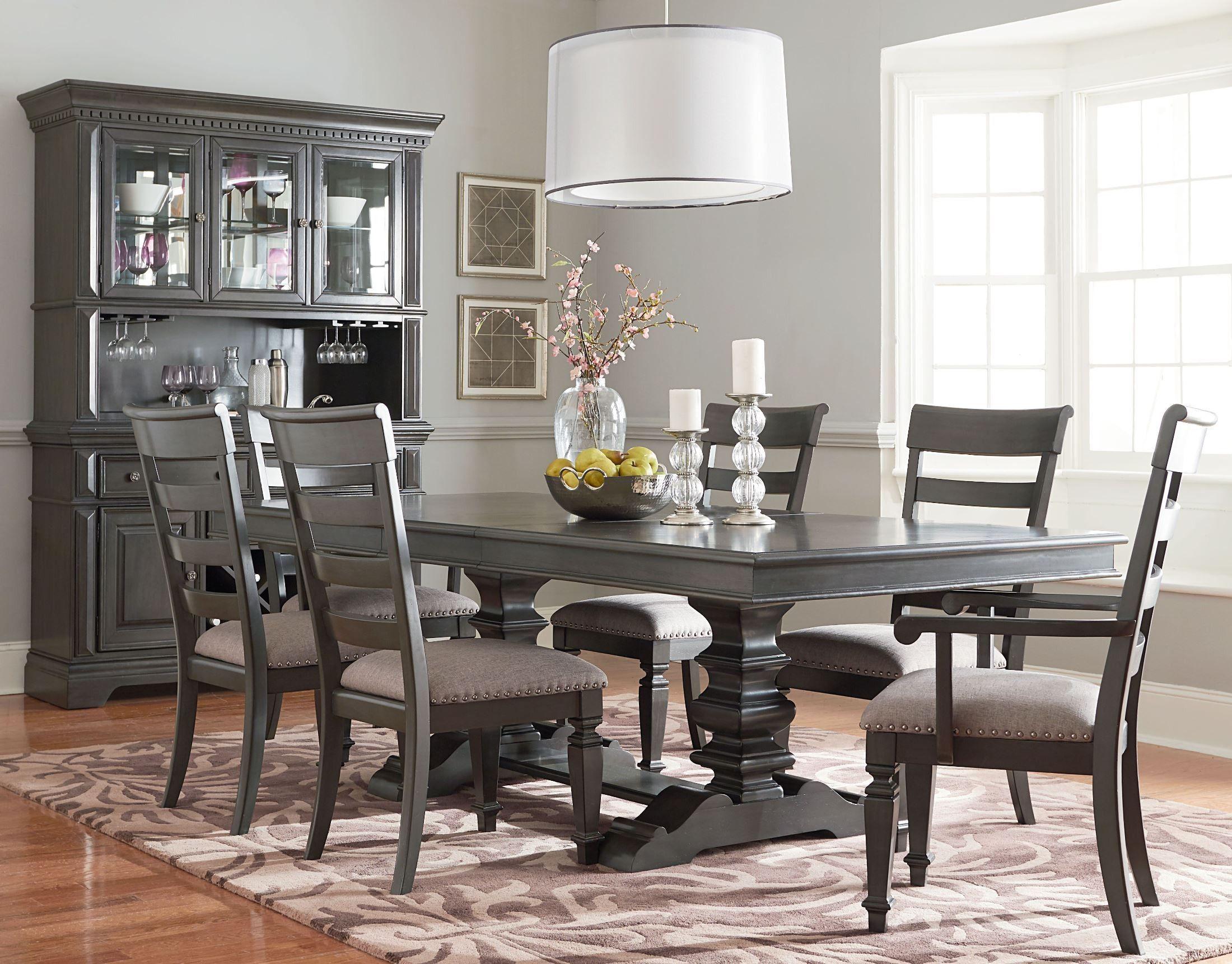 Garrison Burnished Grey Extendable Trestle Dining Table Dining Room Table Dining Room Sets White Dining Room