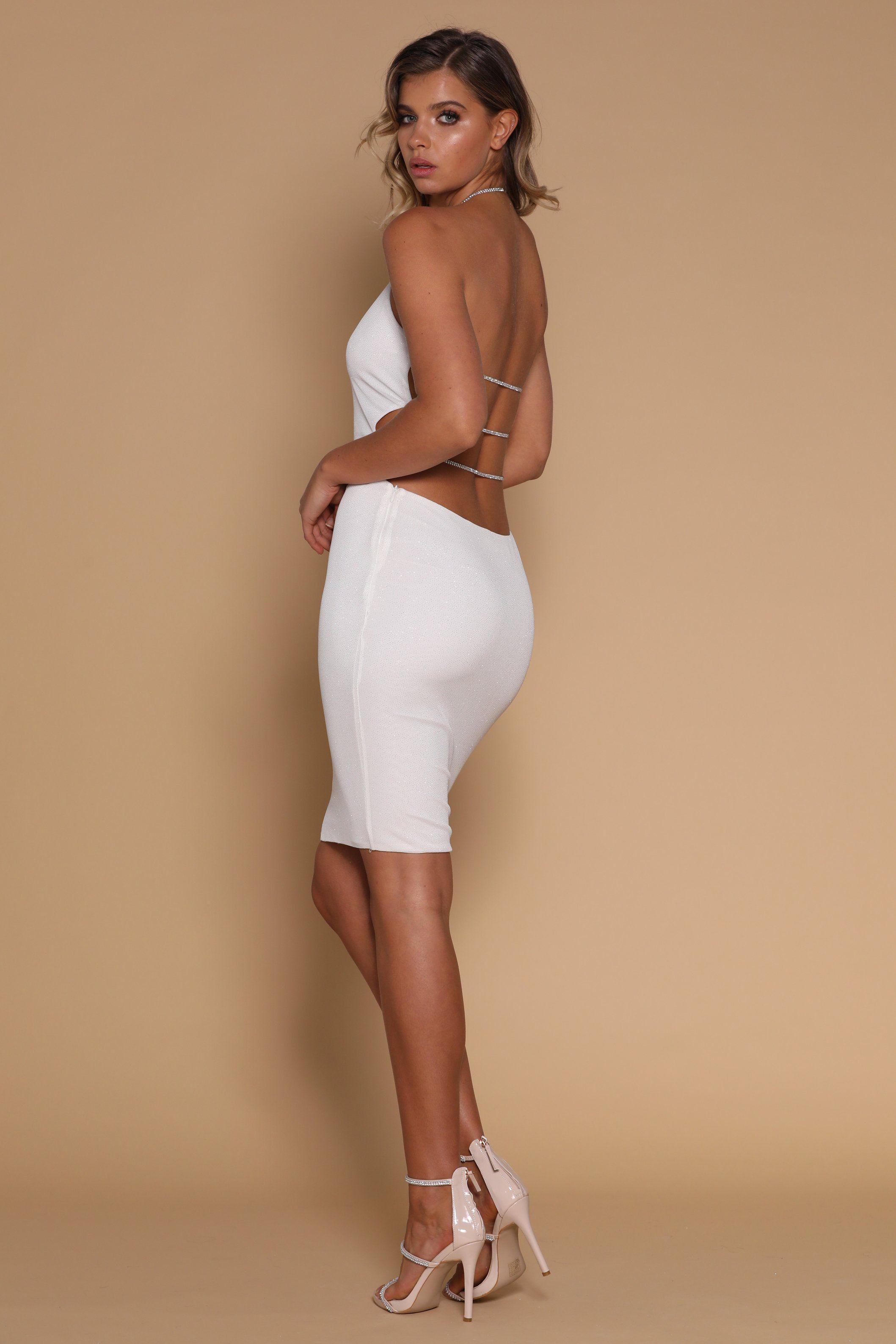 c6fb4326a Azizi Diamante String Midi Dress - White - MESHKI