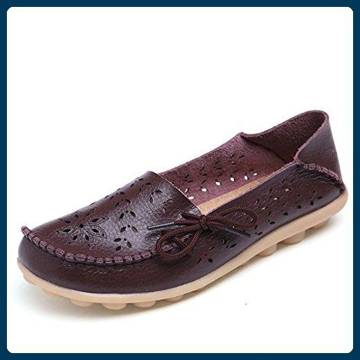 Oriskey Damen Mokassin Bootsschuhe Leder Loafers Schuhe Flache Fahren Halbschuhe Sandalen  Rot