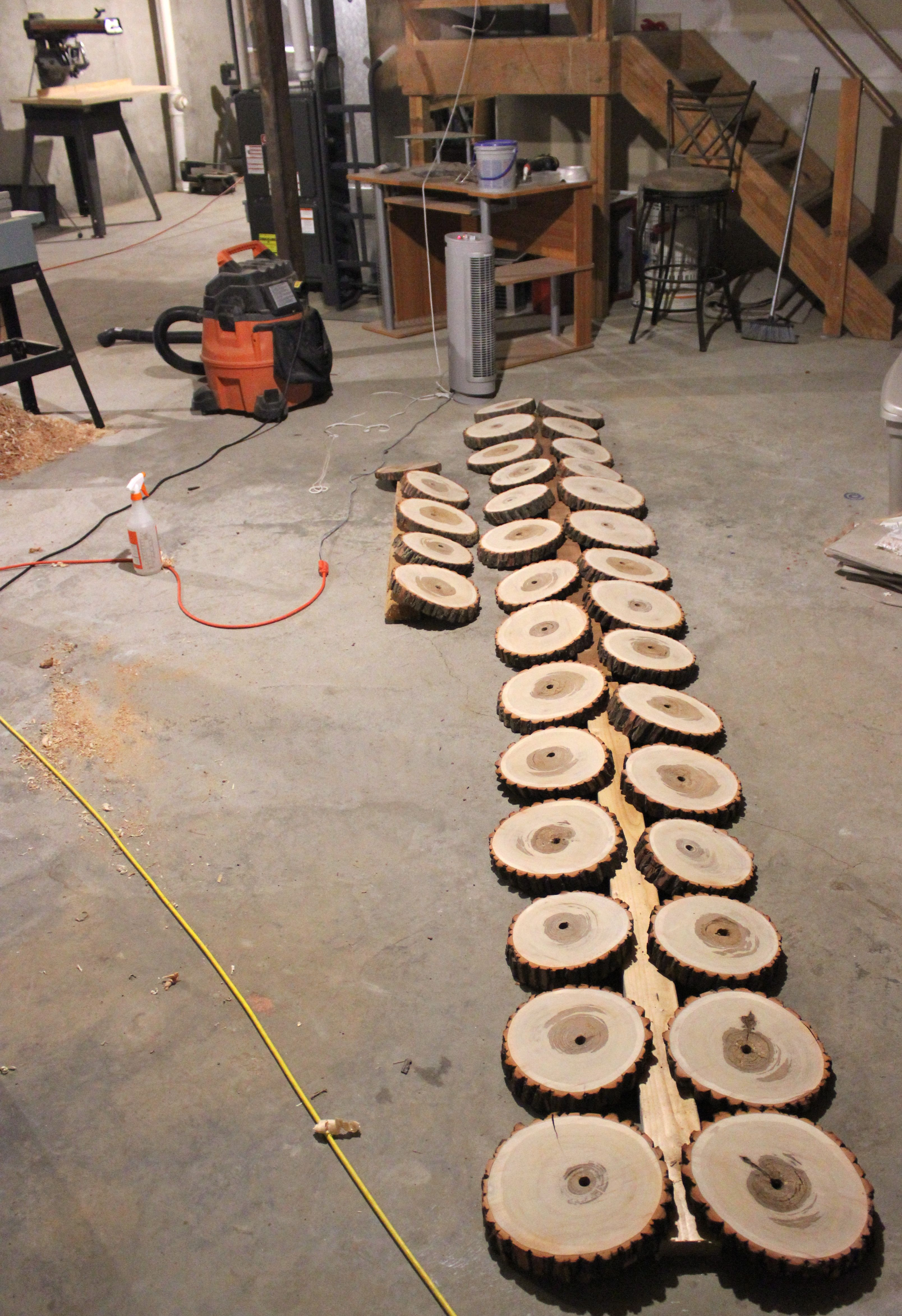 Wood tree slab wedding centerpieces stumps