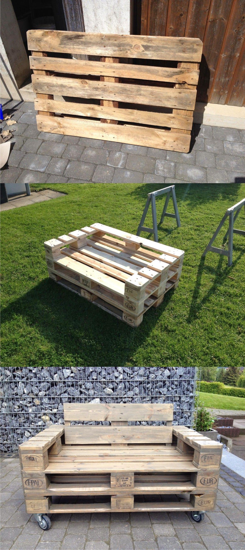 sofá lounge hecho con palés | palletten, möbel selber bauen und