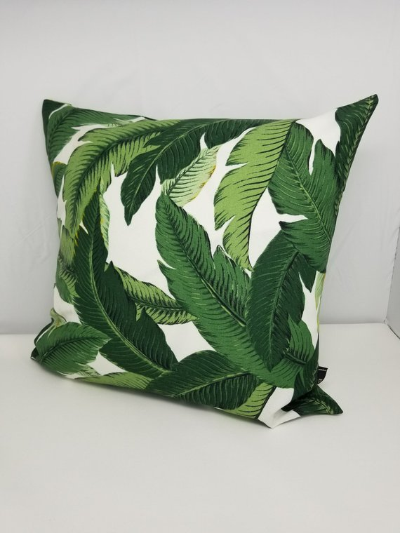 Image 0 Green Throw Pillows Green Pillows Decorative Palm Leaf Pillow